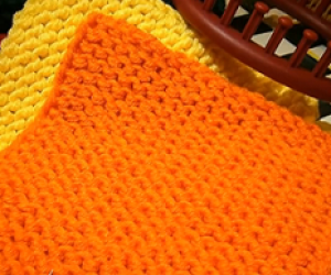 Loom knit a square with a round loom.