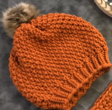 Loom Knit A Beanie Hat Using The Crochetless Purl In 8 Stitch